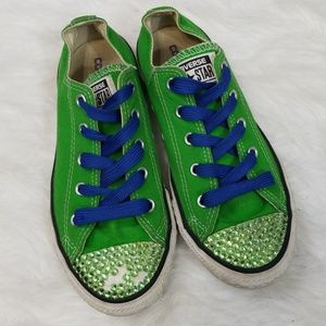 Converse youth green rhinestoned sneakers